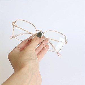 Armação de Óculos de Grau Hexagonal Lausanne Rose Seja Cereja
