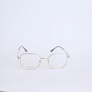 Armação de Óculos de Grau Hexagonal Mobile Prata Seja Cereja