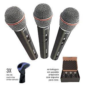 Kit de Microfones de Mão profissional com 3 peças -TRI-TM-969
