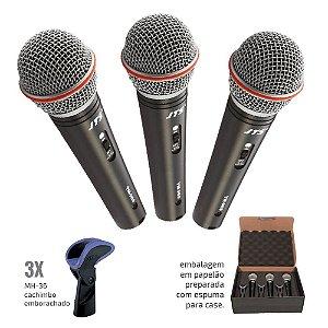 Kit de 03 Microfones de Mão profissional - TRI-TM-989