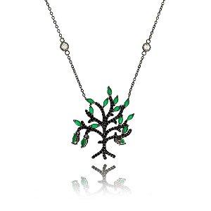 Colar Amoeto Árvore Da Vida Esmeralda