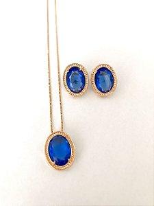 Conjunto Amoeto Oval - Cristal Azul Safira