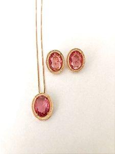 Conjunto Amoeto Oval - Cristal Rosa