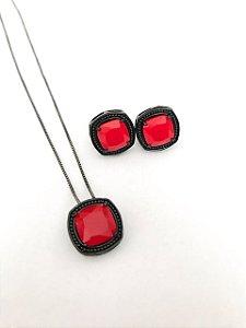 Conjunto Amoeto Quadrado Vermelho