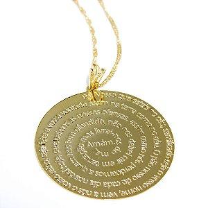 Colar Amoeto Mandala Pai Nosso Folheado A Ouro 18K