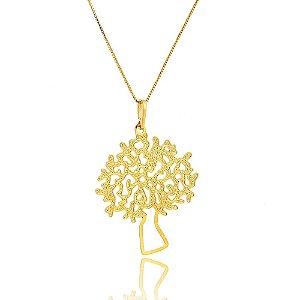 Colar Amoeto Árvore Da Vida Folheado A Ouro 18K