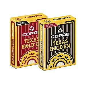 Kit Baralho de Poker Copag Texas Hold'em Preto e Borgonha
