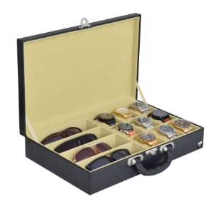 Maleta Porta 9 Relógios e 4 Óculos Couro Ecológico | Preto Bege
