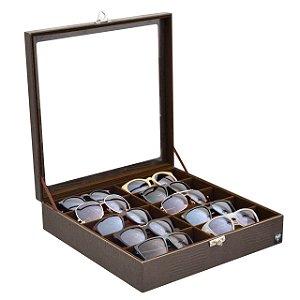 Estojo Porta Óculos 10 Nichos Couro Ecológico | Marrom Marrom