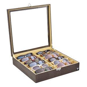Estojo Porta Óculos 12 Nichos Couro Ecológico | Marrom Bege