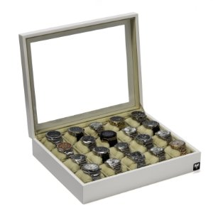 Estojo Porta Relógio 20 Nichos Nobre Madeira Laqueada | Branco Bege