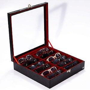 Estojo Porta Óculos 12 Nichos Couro Ecológico | Preto Vermelho