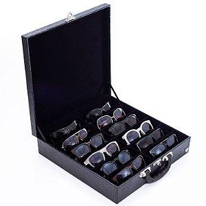 Maleta Porta Óculos 12 Nichos Couro Ecológico | Preto Preto