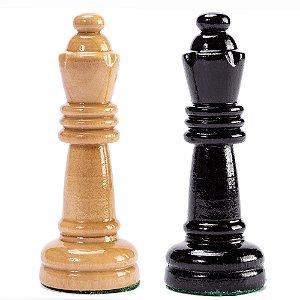 Par de Rainhas para Jogo de Xadrez Madeira Maciça Chumbadas