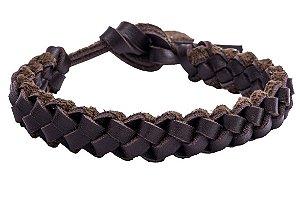 Bracelete Couro Trançado Marrom | B1020M