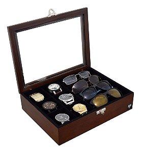 Estojo Porta 6 Relógios e 4 Óculos Madeira Maciça | Tabaco Preto