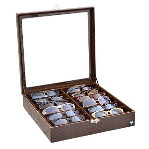Estojo Porta Óculos 12 Nichos Couro Ecológico | Marrom Marrom