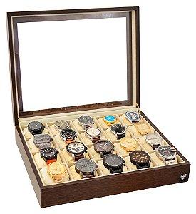 Estojo Porta Relógio 20 Nichos Nobre Madeira | Tabaco Bege