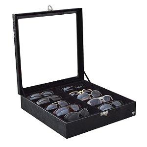 Estojo Porta Óculos 10 Nichos Couro Ecológico | Preto Preto