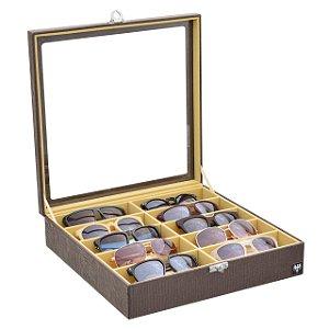 Estojo Porta Óculos 10 Nichos Couro Ecológico | Marrom Bege