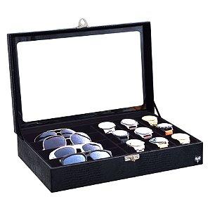 Estojo Porta 9 Relógios e 4 Óculos Couro Ecológico | Preto Preto