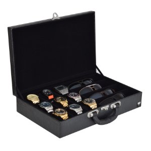 Maleta Porta 9 Relógios e 4 Óculos Couro Ecológico | Preto Preto