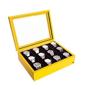 Estojo Porta Relógio 12 Nichos Minimal Madeira | Amarelo Preto
