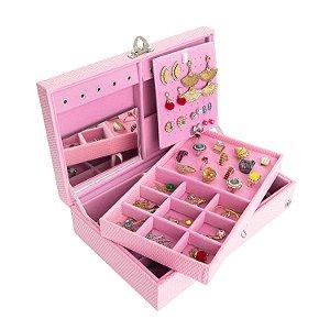 Caixa Porta Joias Couro Ecológico | Rosa com Rosa