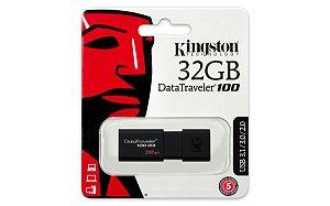 PEN DRIVE DT100G3/32GB KINGSTON DATATRAVELER 3.0 PRETO