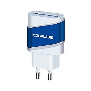 CARREGADOR UNIVERSAL USB 2A 5V C3PLUS UC-20BWHX 2 USB