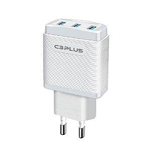 CARREGADOR UNIVERSAL USB 3.1A 5V C3PLUS UC-30WHX 3 USB