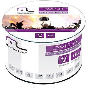DVD-R MULTILASER DV061 4.7GB 120MIN 16X -50 UNIDADES
