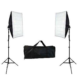 Kit de Iluminação Softbox 50x70cm Duplo com Tripé e Bolsa