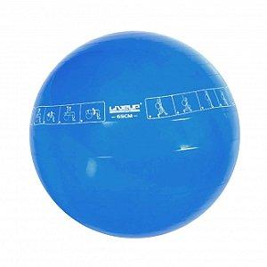Bola Suíça de Pilates 65cm com Ilustração Azul Liveup Sports