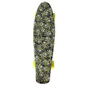Skate Cruiser Caveira Preto e Amarelo 56cm