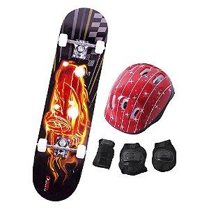 Skate Infantil Kit Iniciante Completo com Proteção Street - Fire