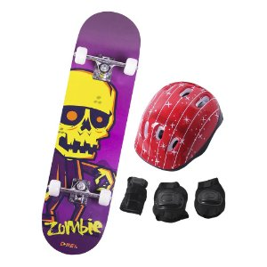 Skate Infantil Kit Iniciante Completo com Proteção Street - Zombie