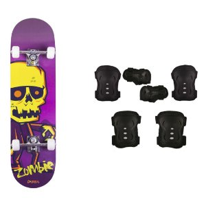 Skate Infantil Kit Iniciante com Proteção Street - Zombie