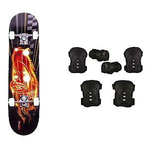 Skate Infantil Kit Iniciante com Proteção Street - Fire