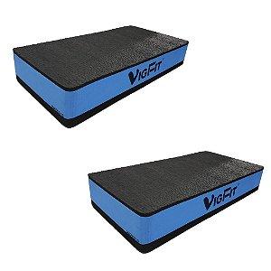 Step Academia EVA 60x30x10 cm Azul - Kit com 2