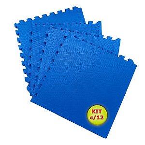Tatame EVA 1x1 Metro 10mm - Kit Com 12 un Azul Royal