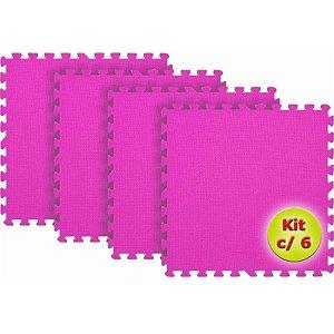 Tatame EVA 1x1 Metro 10mm - Kit Com 6 un Rosa