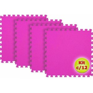 Tatame EVA 1x1 Metro 10mm - Kit Com 12 un Rosa