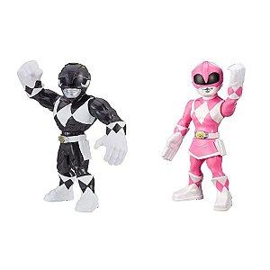 Kit Boneco Power Rangers Preto Rosa Mega Mighties
