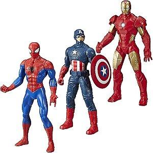 Kit 3 Bonecos Vingadores Marvel Homem Arranha Ferro Capitão