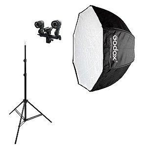 Softbox Godox 120cm Octabox Sombrinha Kit Luz Contínua e Flash
