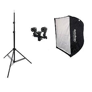 Softbox Godox 60x60cm Sombrinha Kit Luz Contínua e Flash