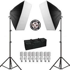 Kit de Iluminação Estúdio Fotográfico PK-SB01 Softbox 70cm 110v