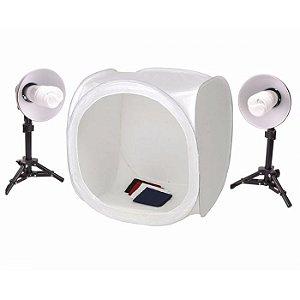 Kit Mini Estúdio Fotográfico Com Tenda 40x40cm para Foto Still e Produtos - PK-ST07