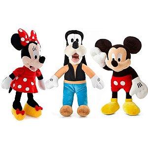 Mickey Minnie e Pateta de Boneco de Pelúcia Disney 33cm com Som